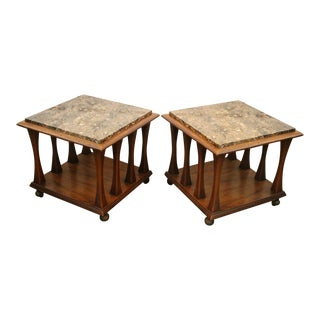 Ebonized Walnut Square Rolling Cocktail or Side Table - Pair Available For Sale