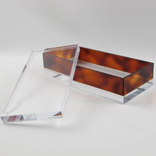 Mid-Century Modern 1970s Clear and Tortoise Lucite Decorative Box Preview