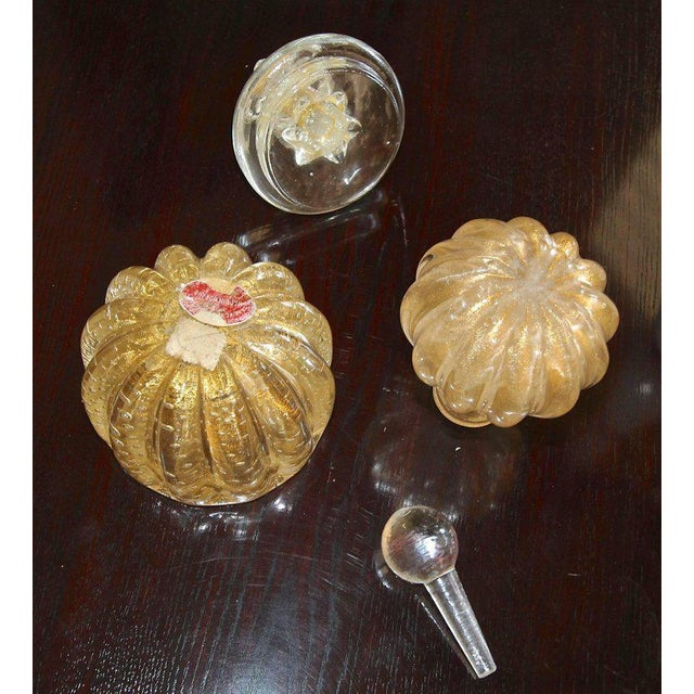 1950s Murano Gold Controlled Bubbles Perfume Bottle & Lidded Powder Jar For Sale - Image 5 of 10