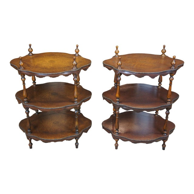 Vintage Theodore Alexander 3 Tier Leather Turtle Top & Nailhead Accent Side Tables - a Pair For Sale