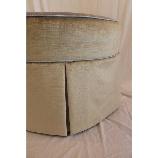 Round Swivel Velvet Ottoman For Sale - Image 4 of 7