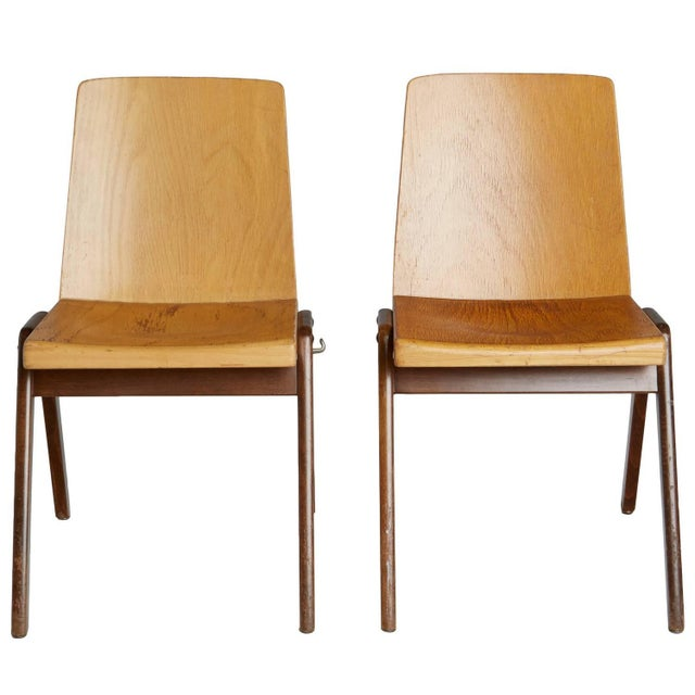 Thonet Wood Stacking Chairs - A Pair For Sale