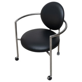 1980s Moon Chair in Black Leather and Chrome by Brueton For Sale