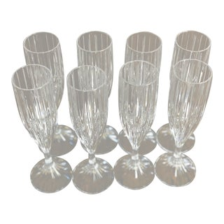 Crystal Fluted Champagne Glasses - Set of 8