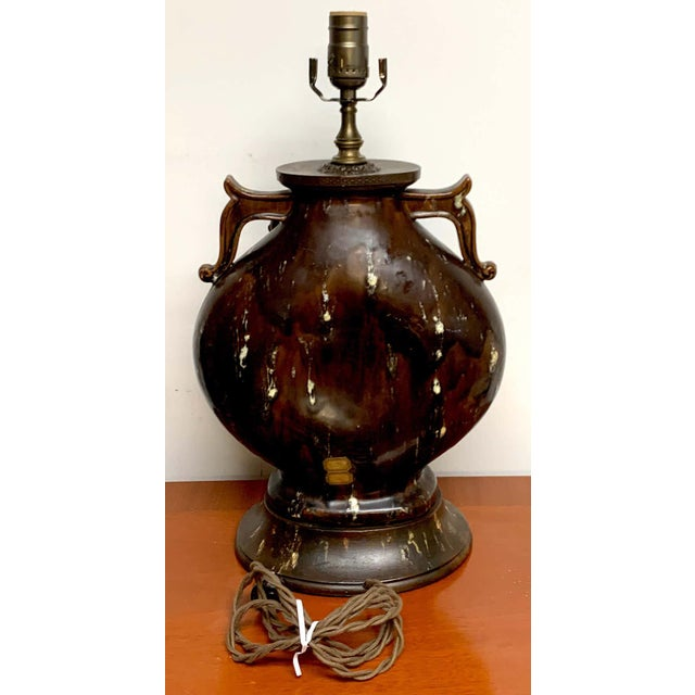 Fantoni Chinoiserie Pottery Lamp For Sale - Image 9 of 11