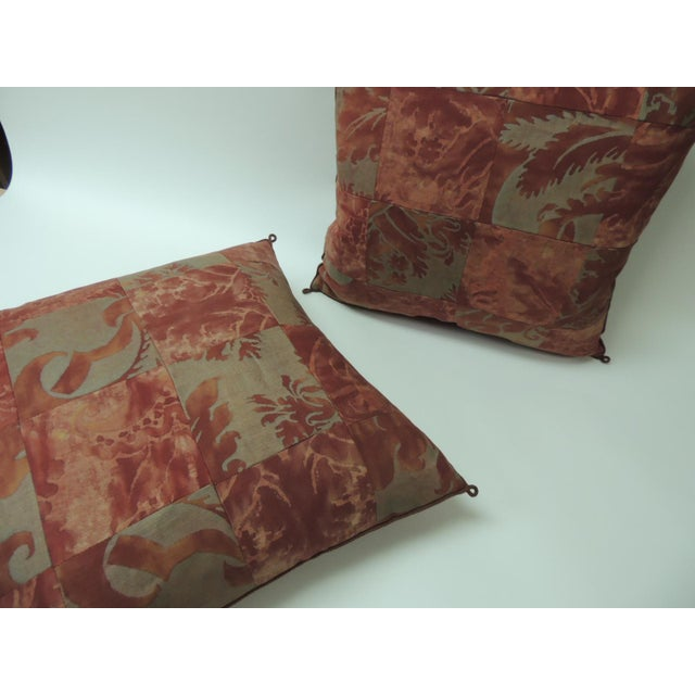 """Regency Pair of Vintage Patchwork Fortuny """"Glicine"""" Pattern Red and Silvery Pillows For Sale - Image 3 of 5"""