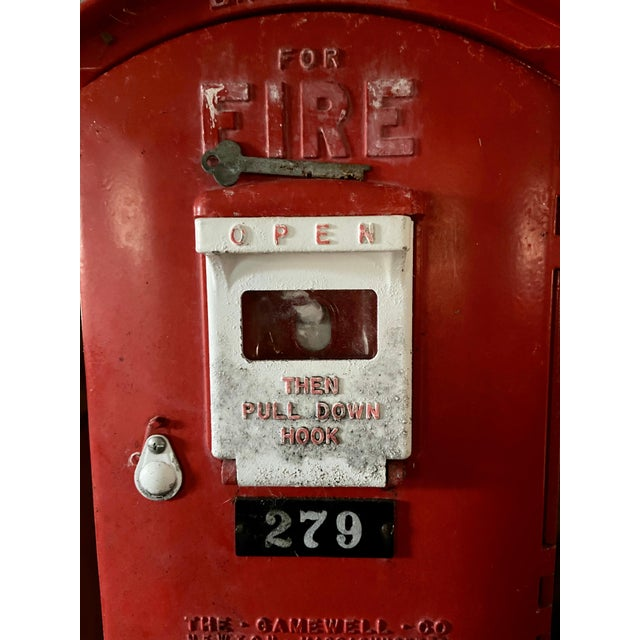 Mid-1900s Red Gamewell Cast Iron Fire Alarm Master Box W/ Western Electric Phone For Sale - Image 9 of 13