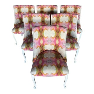 20th Century Dining Armless Side Chairs Scroll Foot Cabriolet Leg Drexel Touraine - Set of 6 For Sale