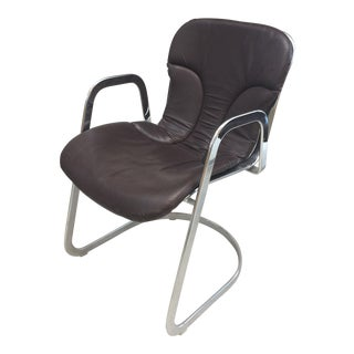 1970s Willy Rizzo Dining Chair Chrome With Chocolate Leather Seat Cushion For Sale