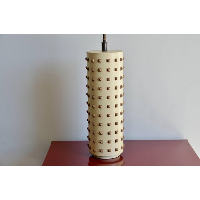 Large studded cylinder table lamp. Circa 1970s.