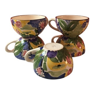 Favanol Vintage Hand Painted Teacups - Set of 6 For Sale
