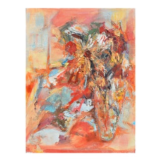 Mid Century Abstract Flowers Oil Painting For Sale