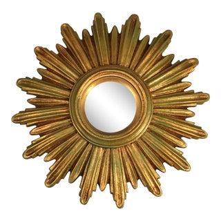 Vintage C. 1960's Gold Starburst Wall Mirror For Sale