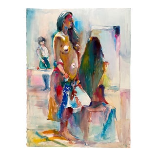 Vintage Watercolor Painting Standing Nude Female Model by Rich Buchwald For Sale