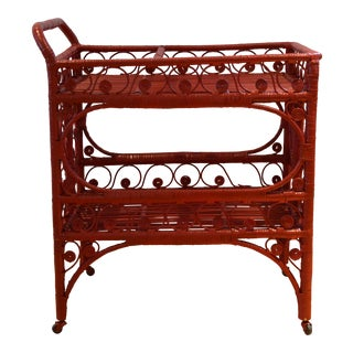 1970s Boho Chic Red Rattan Bohemian Cart For Sale