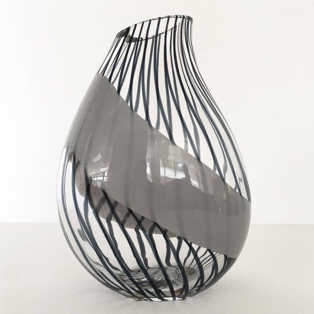 Gray Livio Seguso Striped Murano Art Glass Vase For Sale - Image 8 of 13