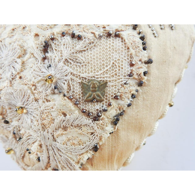 Shabby Chic Antique Sweetheart Remember Me Pincusion For Sale - Image 3 of 7