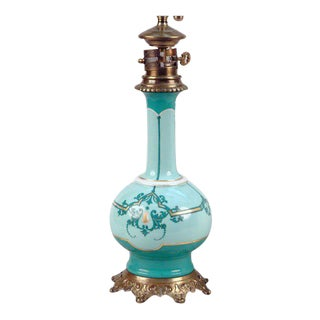 French Porcelain Oil Lamp, Electrified For Sale