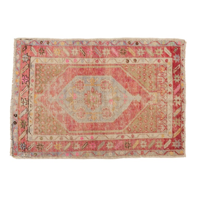 "Vintage Distressed Oushak Rug - 2'9"" X 3'11"" For Sale - Image 9 of 9"