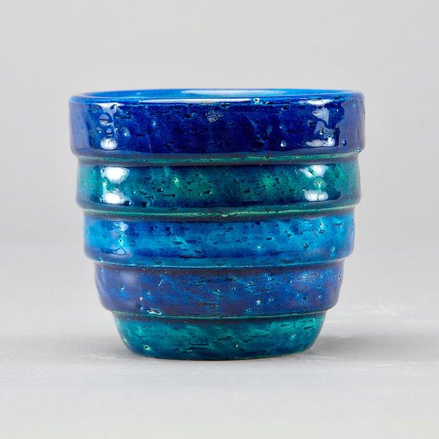 Ceramic Aldo Londi for Bitossi Small Rimini Blue Planter Pot For Sale - Image 7 of 7