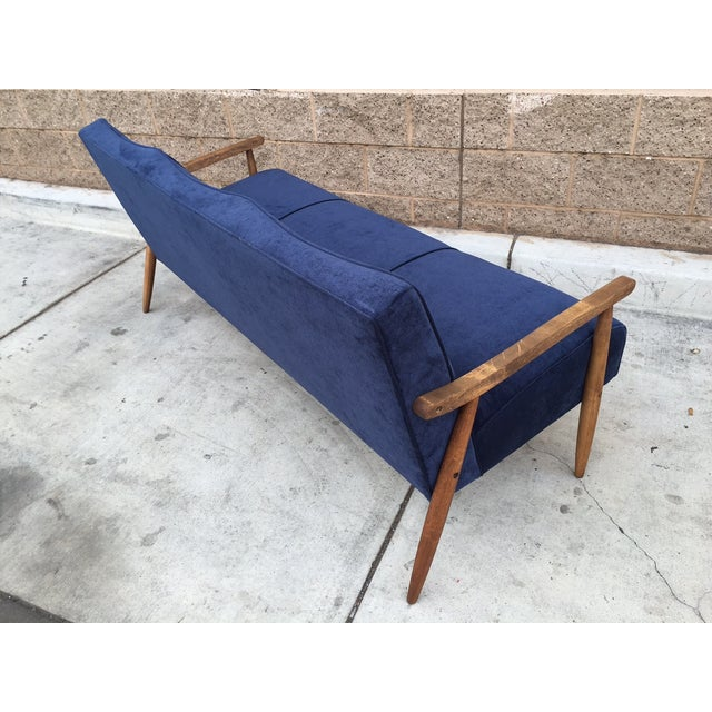 Mid Century Atomic Velvet Sofa - Image 3 of 4