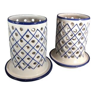 Pair of r.c & Cal Da Juncal Porto De Mos Portuguese Ceramic Candle Holders Traditional Blue & White For Sale
