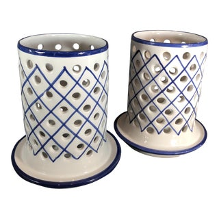 Traditional Blue & White R.C & Cal Da Juncal Porto De Mos Portuguese Ceramic Candle Holders - a Pair For Sale