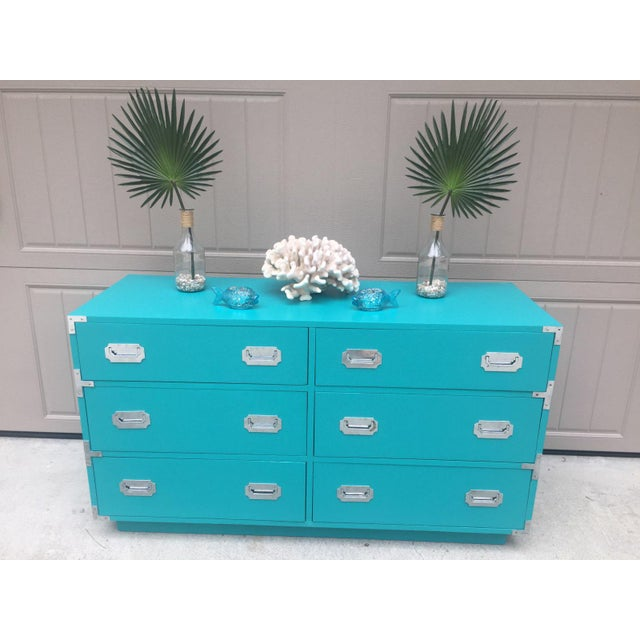 Vintage Dixie Turquoise Painted Campaign Dresser For Sale In Savannah - Image 6 of 10