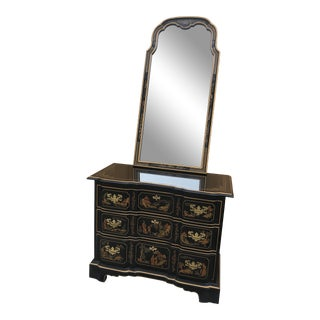 Chinoiserie Style Drexel Dresser With Mirror - 2 Piece Set For Sale