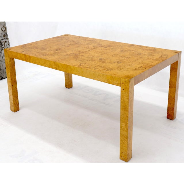 """Milo Baughman attributed burl wood dining table in mint condition with two 18"""" leaves. Overall extends up to 100"""" long...."""
