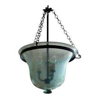 French 19th Century Bell Frosted Glass Bell Jar Pendant With Iron Chain Fittings For Sale