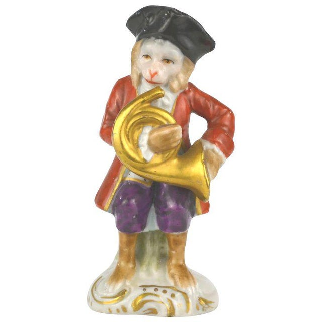 White Antique Porcelain Monkey Musician, from Germany, Red Coat For Sale - Image 8 of 8
