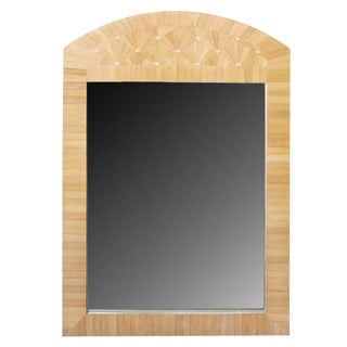 Vintage Wooden Inlay Mirror For Sale