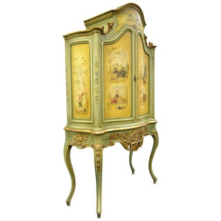 Antique French Louis XV Italian Rococo Style Hand Painted Green Cupboard For Sale