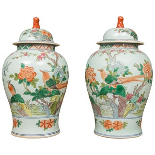Chinese Celadon Lidded Urns - a Pair For Sale