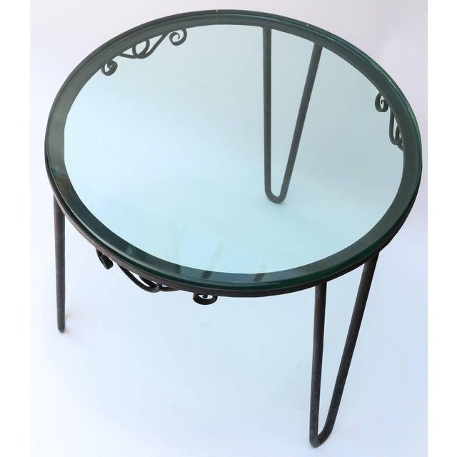 1960s Italian Round Metal Side Table With Glass Top For Sale In Los Angeles - Image 6 of 7