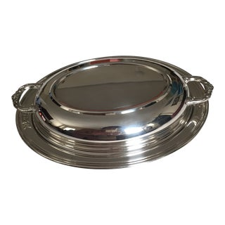 Mid-Century Silver Plated Covered Oval Serving Dish For Sale