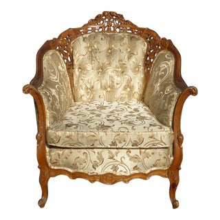 Vintage French Provincial Rococo Tufted Accent Chair For Sale