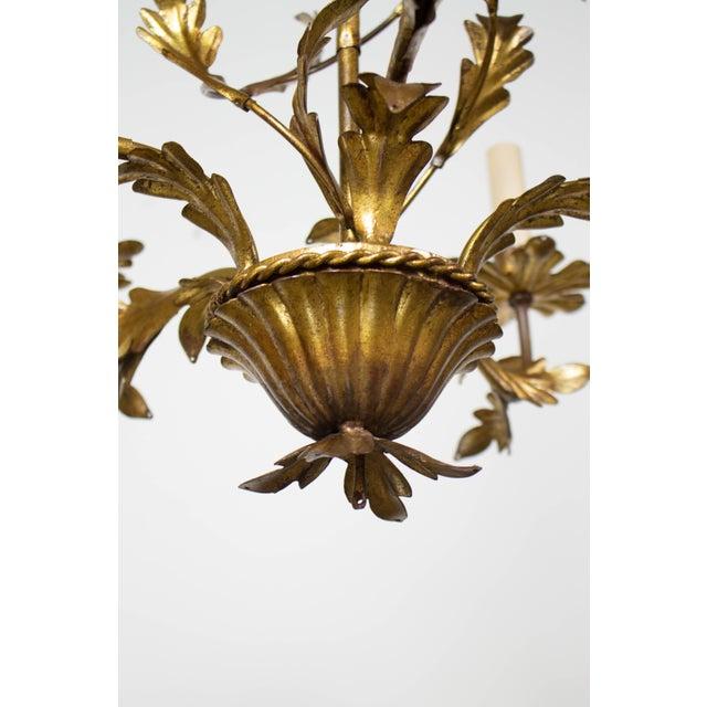 Italian Five Light Gold Leaf Chandelier For Sale - Image 4 of 7