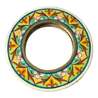 Vintage Small Round Painted Wood Mirror For Sale