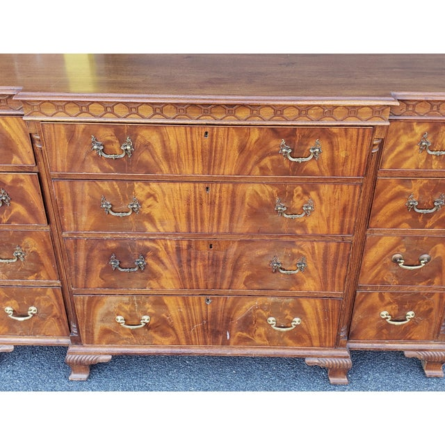 1920s Antique 1920s W&j Sloane Flame 12 Drawer Mahogany Dresser ~ Hallway Cabinet For Sale - Image 5 of 13