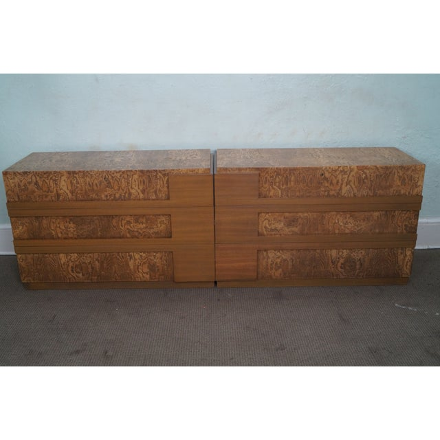 Mid-Century Burl Wood Dressers - A Pair For Sale In Philadelphia - Image 6 of 10
