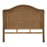 Image of Boho Chic Wicker and Wrapped Rattan Braided Full Headboard For Sale