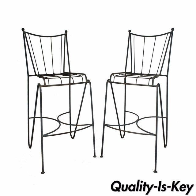 Mid Century Modern Wrought Iron Hairpin Bar Stools - A Pair - Image 11 of 11