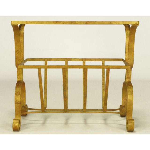 Gilt Iron & Glass Side Table With Magazine Caddy. - Image 6 of 6