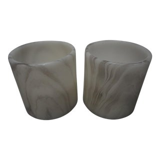Electornic Faux Marble Candles - A Pair For Sale