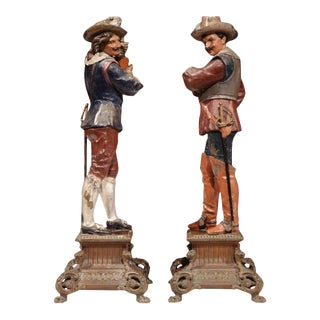 Hand-Painted Metal Musketeer Figurines - a Pair For Sale