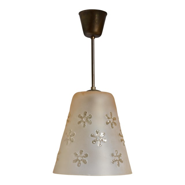 Frosted Glass Pendant with Flower Motif, Sweden, 1930s For Sale