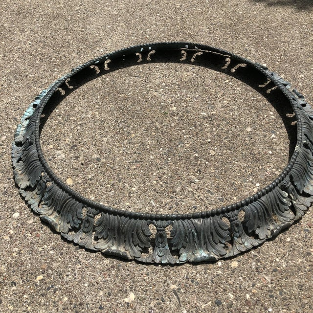 """Early 20th Century Antique Pair of Beaux Arts 20"""" Round Bronze Surrounds - a Pair For Sale - Image 5 of 13"""