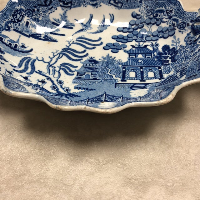 Antique England circa 1850 Rogers Blue Willow serving dish with unusual flower-bud handles with impressed mark on bottom.